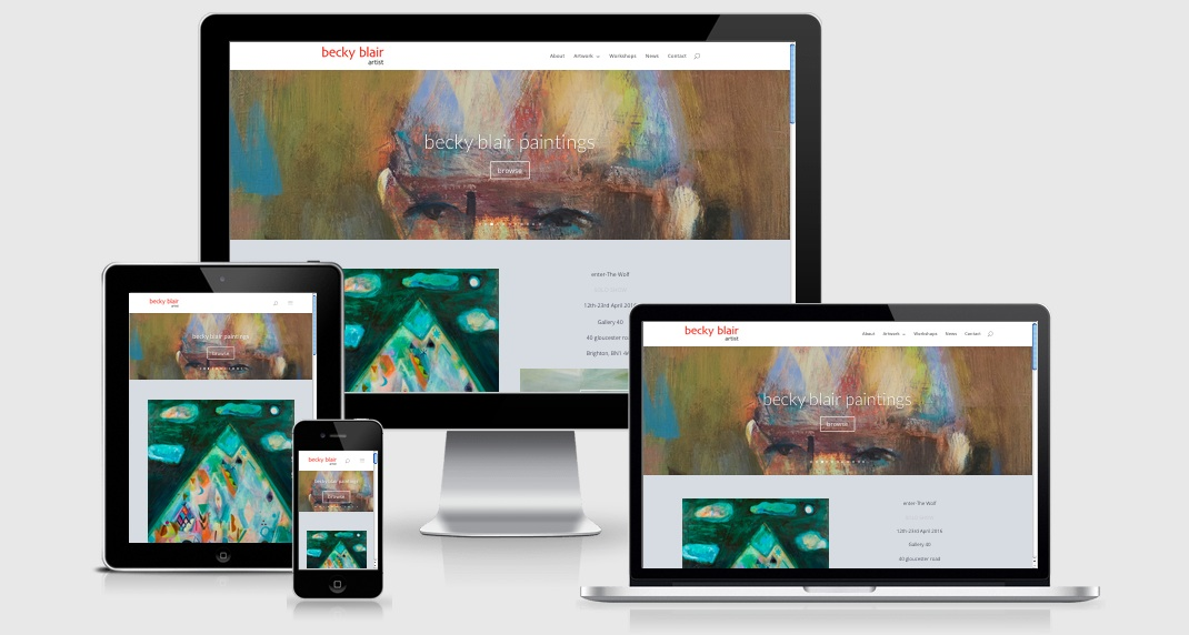 Screenshots of responsive design layouts on different devices